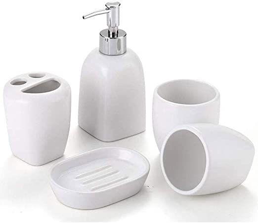 Smlzv Bathroom Accessories Set White Ceramic Including 5 Piece Bathroom Accessories Set Soap Dis In 2020 Soap Dispenser Bathroom Accessories Sets Bathroom Decor Sets