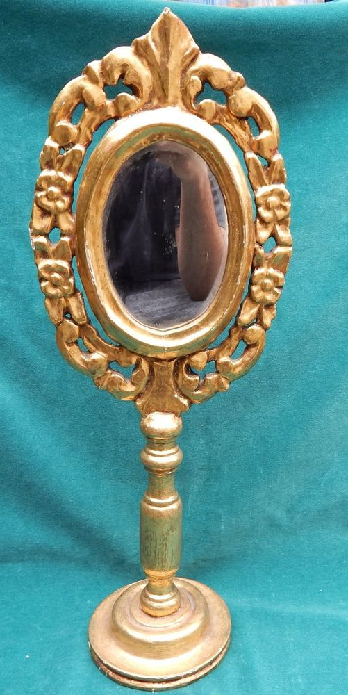 Italian 19 Century Carved Wooden Gold Leaf Mirror On Stand VERY RARE