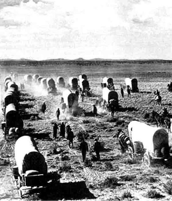 During the migration west, most family  members (young and old) who could walk would have to travel most or all of the route on foot next to the covered wagon.  All of their household belongings would fill the bed of the wagon in order for the family to start a new life where ever they settled. This rare photo shows a wagon train traveling west toward a new life.  Wow!