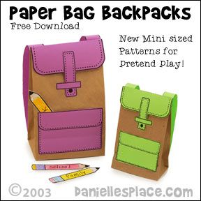 Free Paper Bag Backpacks Printable Patterns | Printable Craft Patterns