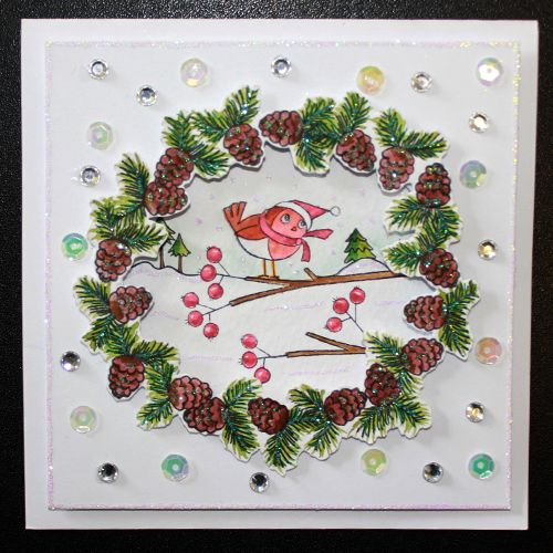 This is the gorgeous new Christmas Friends set designed by Sharon Bennett for Hobby Art. Clear set contains 16 stamps. This Lovely card was made by Sally Dodger: