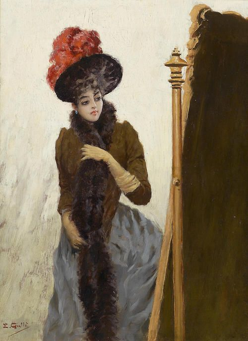 """""""In front of the swing mirror"""" by Emile Gallé (1846-1904)."""