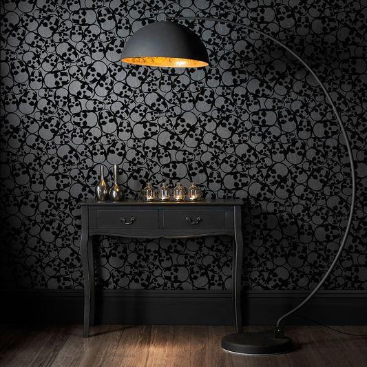 Skulls Black Wallpaper In 2019 Black Wallpaper Bedroom