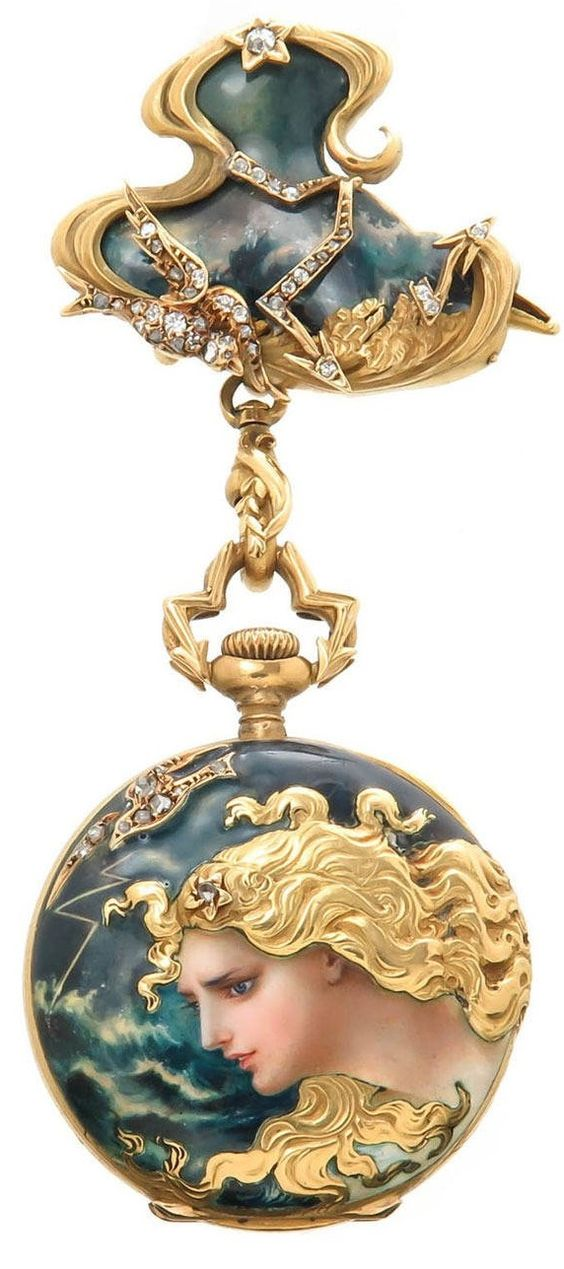 Haas Neveux - An Art Nouveau Yellow Gold, Enamel and Diamond Set Porcelain Dial Lapel Watch, circa 1910. 18K yellow gold with fine enamel, gold chasing and accented with numerous rose cut diamonds. Stem set jewelled nickel lever movement. porcelain dial with sunk seconds chapter and Gold hands.: