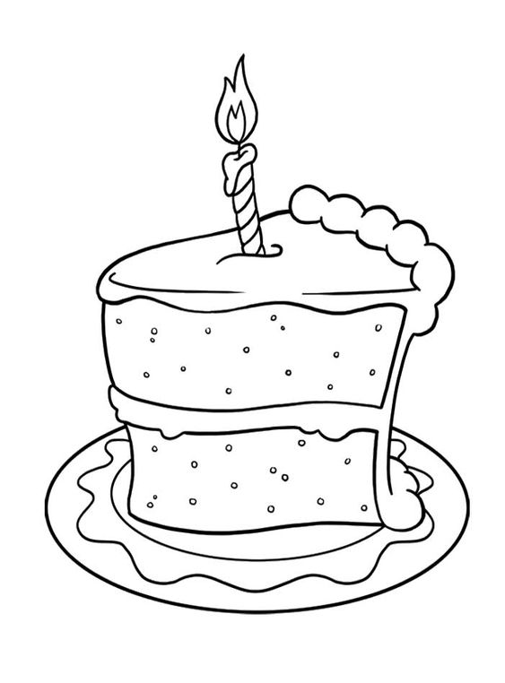 Pictures Slice Of Cake Birthday Coloring Pages Spanish