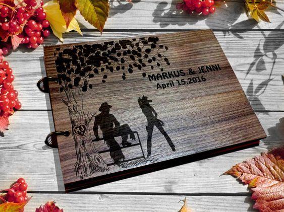 Western Wedding Guest Book  / cowboy  GuestBook Wood /  Custom Wedding book…