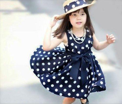 3T New Navy Blue Polka Dots Chiffon Casual 3T Little Girls Dress ...
