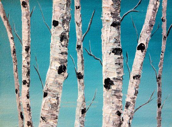 Winter Bliss, Acrylic Painting #art #acrylicpainting #birch #aspen #painting