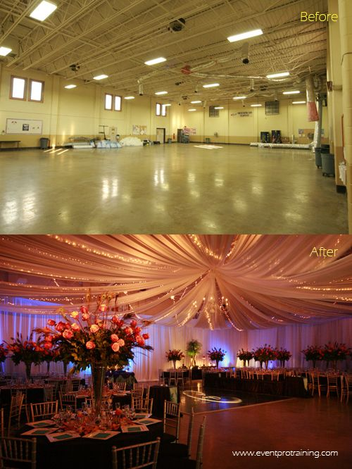 This is a wedding that was done at an Armory. The blog shares all about what we did! Awesome ceiling drape and peacock feather theme