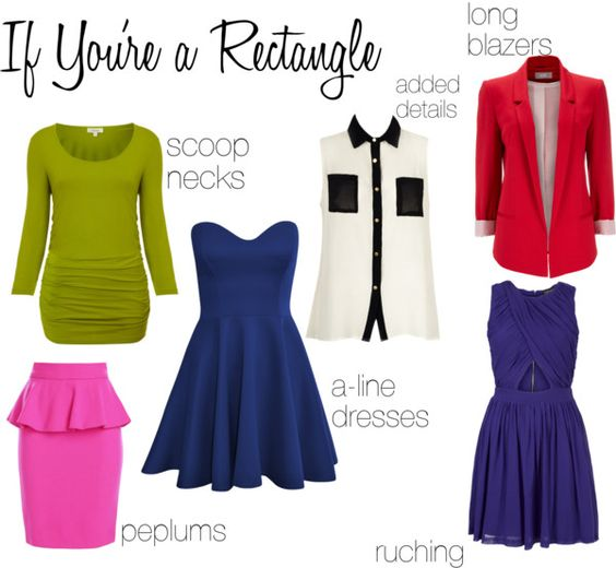 How to Dress Your Body - rectangle shape Haven't totally figured out my body shape but most of this would work for me: