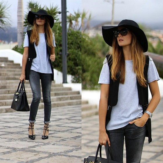 H&M Hat, Sheinside Vest, Choies Heels http://marilynsclosetblog.blogspot.com.es/2013/09/playing-with-grey.html: Fashion Love, Moda Hippies, Genuine Style, Hat Styles, My Style