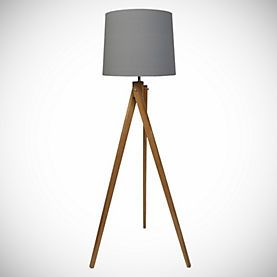 Wooden tripod floor lamp tripod and floor lamps on pinterest for Wooden floor lamp grey shade
