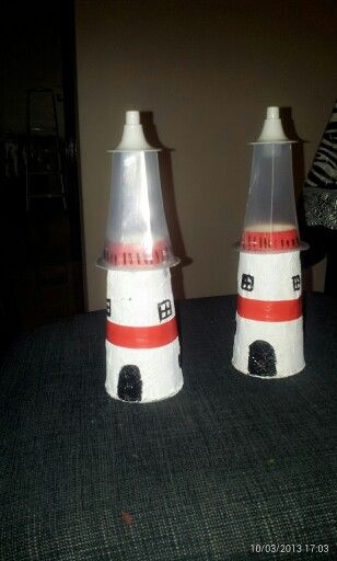 Lighthouse made out of disposable cups
