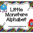 This is a set of 5x7 inch alphabet cards made with striped backgrounds. Each card features a little monster!  Each letter comes in both dark and li...