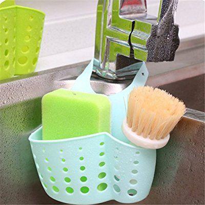 Verstellbar Spüle Organizer Bürstenhalter Kreative hängende Aufbewahrung Korb für Küche Werkzeug Gadget (Blau)