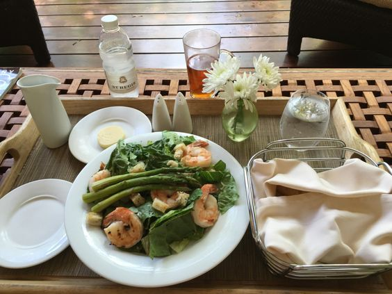Remede Spa Review from St Regis Bahia Beach Resort, Puerto Rico  Grilled Shrimp Cesar Salad from the Remede Spa lunch menu