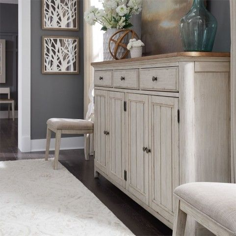 Farmhouse Reimagined Antique White Hall Buffet Dinning Room Buffet Liberty Furniture Furniture Dining room sideboards and buffets