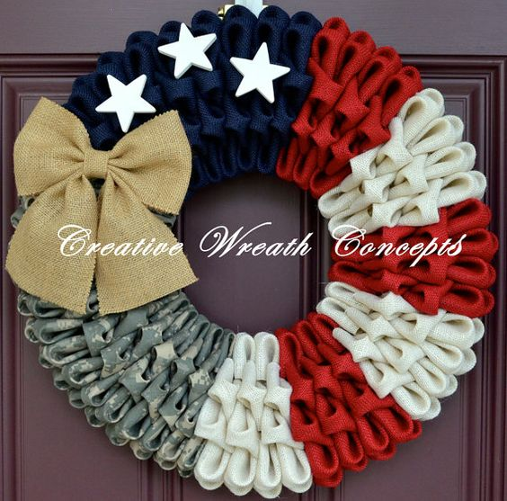 The gorgeous wreath is the perfect way to show your support for our troops and our beautiful country. The wreath is made of Army ACU