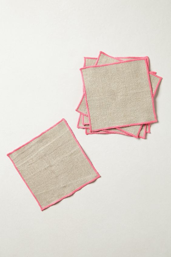 """Neon Border Cocktail Napkins - anthropologie.com -- These would be tremendously easy to DIY with a serger. 6"""" square, set of 6 $28 from Anthro"""