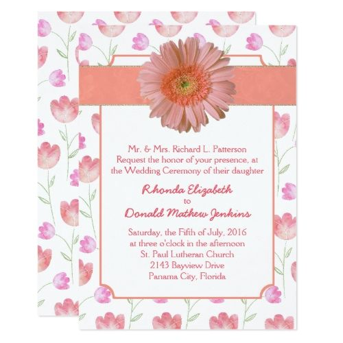 Pretty Coral Gerber Daisy Wedding Invitation Daisy Wedding Invitations Stylish Wedding Invitation Gerber Daisy Wedding