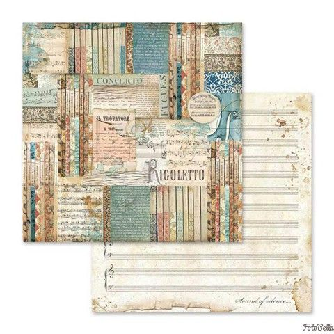 Stamperia 12x12 Paper Pad Music 10 Double Sided Sheets For Scrapbooks Cards Crafting 12x12 Scrapbook Paper Paper Pads Vintage Journal