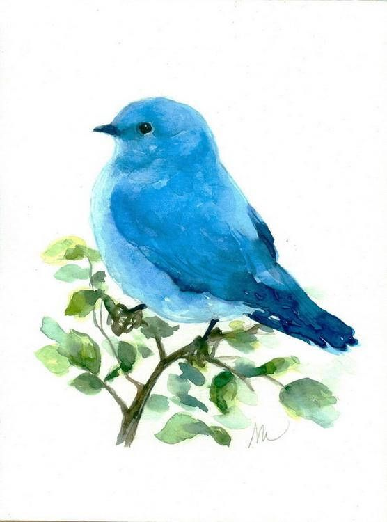 Original Blue Bird Watercolor Painting Nursery Bird Art