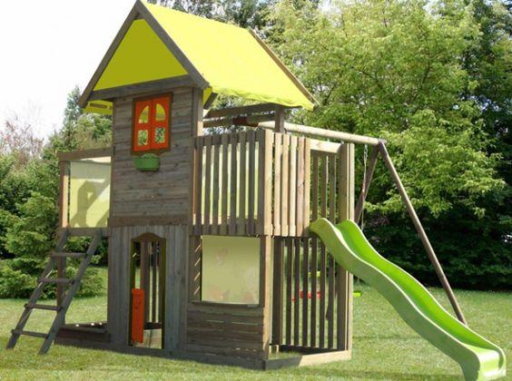 Cabane portique enfant la redoute cabanes enfants pinterest cabane enfant toboggan et cabanes - Cabane enfant toboggan ...