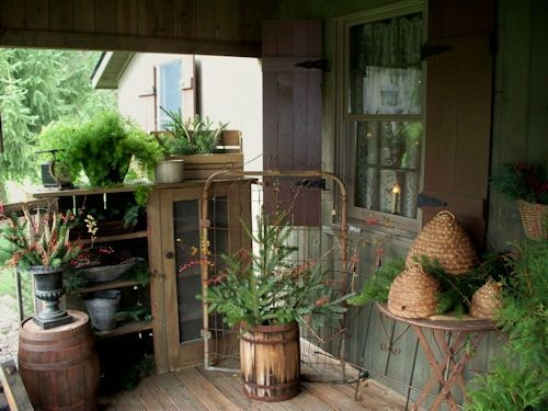 primitive front porch decor.