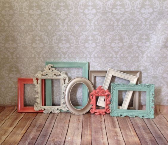 Vintage Style PICTURE FRAMES - mint and coral -  shabby chic - Wedding - Glass and Backing by VintageEvents on Etsy https://www.etsy.com/listing/165681582/vintage-style-picture-frames-mint-and