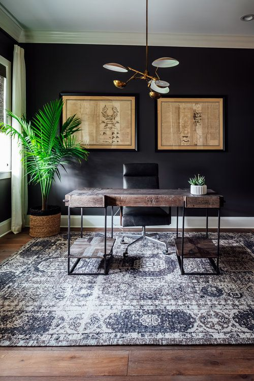 Home Office With Black Walls Modern Wood Desk And Brass Light