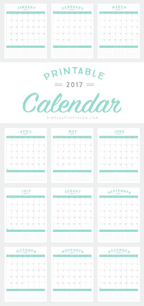 This simple, stream-lined 2017 calendar is the perfect planning tool to help you start the school year off on the right foot!: