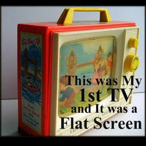 This was my 1st tv...and it was a flat screen. 80's LOVE.