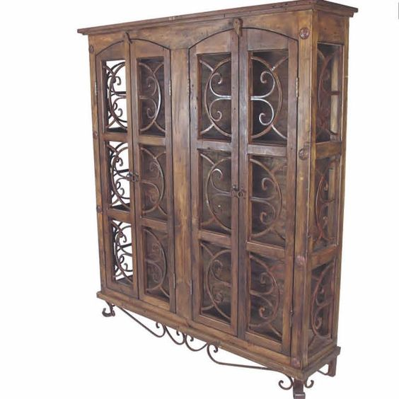Tuscan Rustic Wood Iron Cabinet Beautiful Furniture