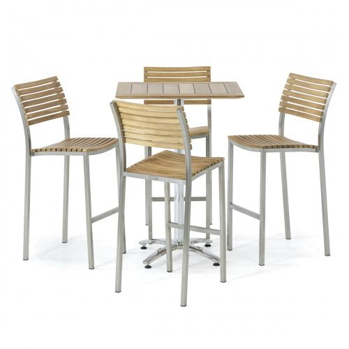 Vogue Teak And Stainless Steel Bar Table Set For 4 Bar Table Sets Bar Table Stainless Steel Furniture