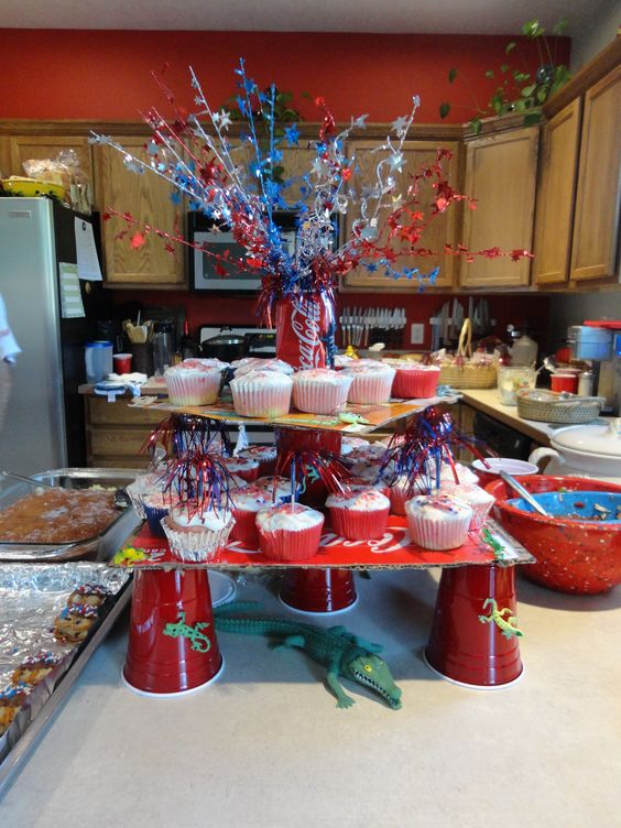 I made this redneck cupcake tower for a 4th of July swamp style party =)