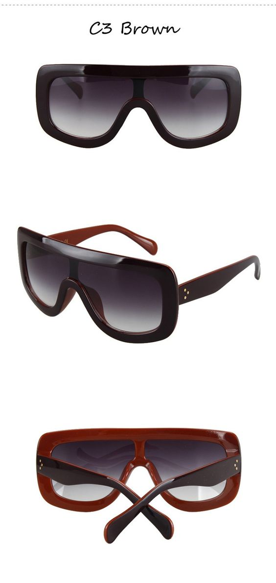 Designer Inspired fashion sunglasses with a sleek modern squared-off ...