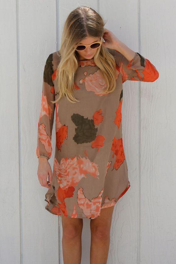 !: Print Frock, Orange Prints, Dressed Orange, Orange Dress, Fall Dresses