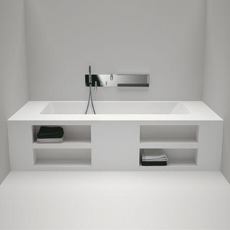 modern architecture - interior view - bathroom - agape design - bathtub - cartesio - built-in bathtub with storage compartments