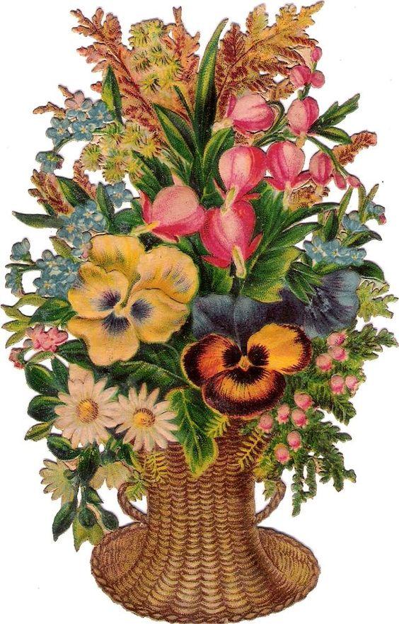Oblaten Glanzbild scrap diecut chromo Blumen Korb  14,5cm flower basket pansy: