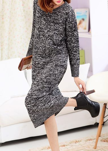 Keep Warm Grey Long Sleeve Dress on sale only US$38.69 now, buy cheap Keep Warm Grey Long Sleeve Dress at lulugal.com