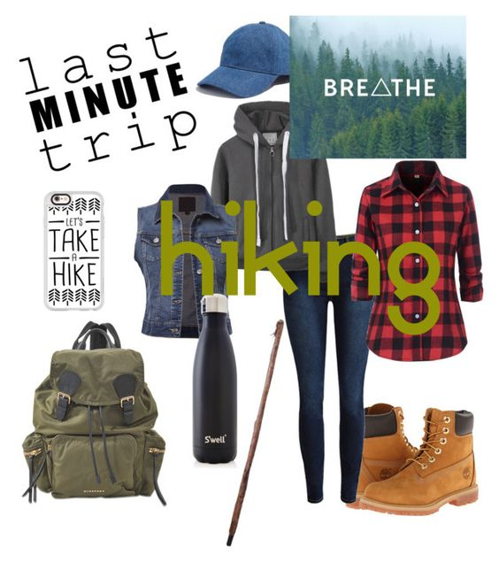 """Last minute trip: hiking"" by godgirl317 on Polyvore featuring Timberland, Burberry, S'well, Madewell and Casetify"