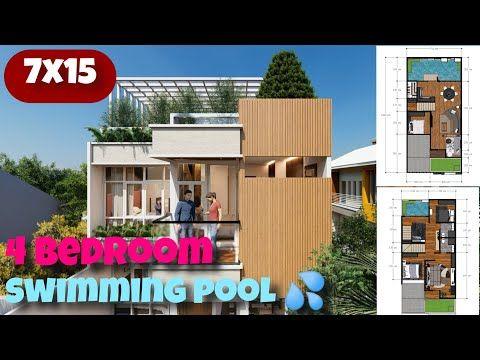 105 Sqm Modern House With Swimming Pool Rooftop Garden Rumah 7x15 Dengan Kolam Renang Youtube Pool House Plans House Design Narrow House Designs