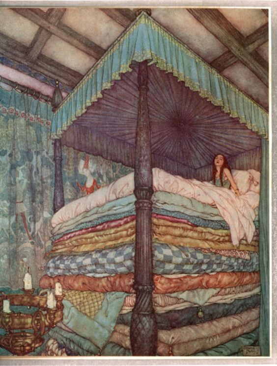 The Princess and the Pea (1911) by Edmund Dulac: Pea Edmund, Fairy Tales, Edmund Dulac, Dulac Princess, Dulac Illustration, Book Illustration, Children S Book, Fairytale