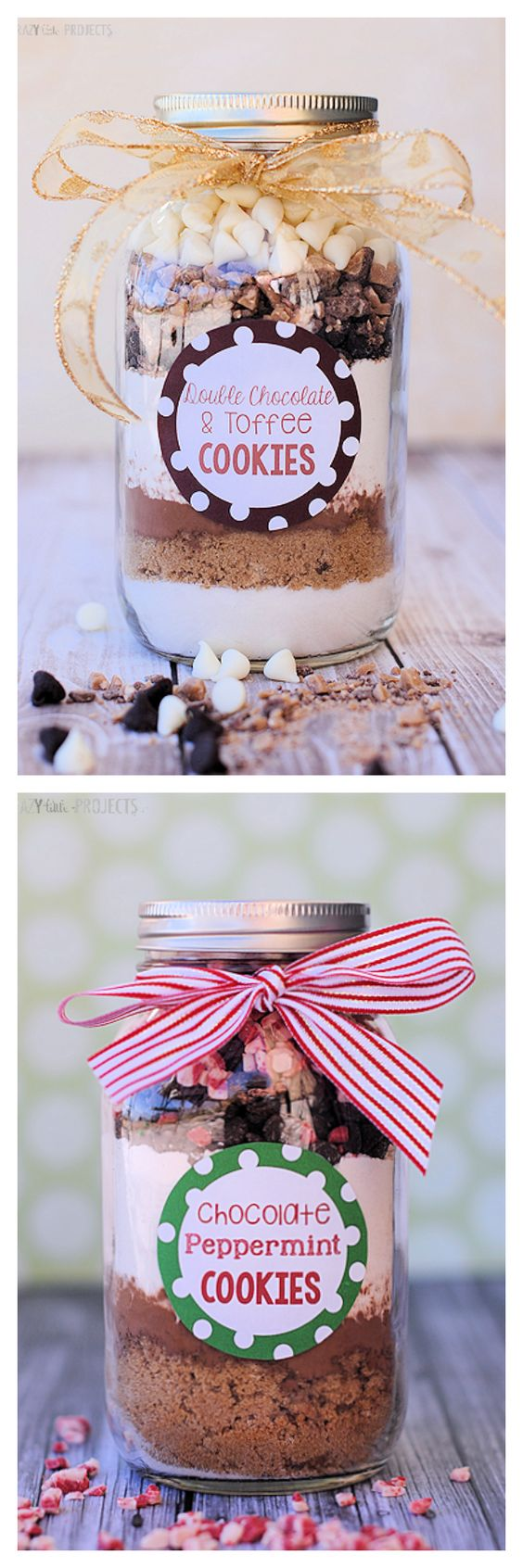 Two for one - double chocolate toffee or chocolate peppermint - great Christmas gifts presented in a mason jar!