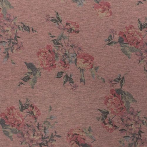 Vintage Pink Floral On Heather Pink Spun Jersey Spandex Blend Knit Fabric Super Soft Brushed Texture Spun P Indie Sewing Patterns Fabric Fabric Stores Online