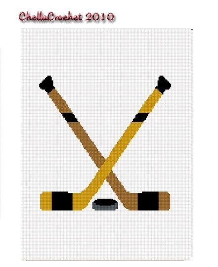 Hockey Knitting Patterns : INSTANT DOWNLOAD Chella Crochet Hockey Crossed Sticks Puck Afghan Crochet Pat...