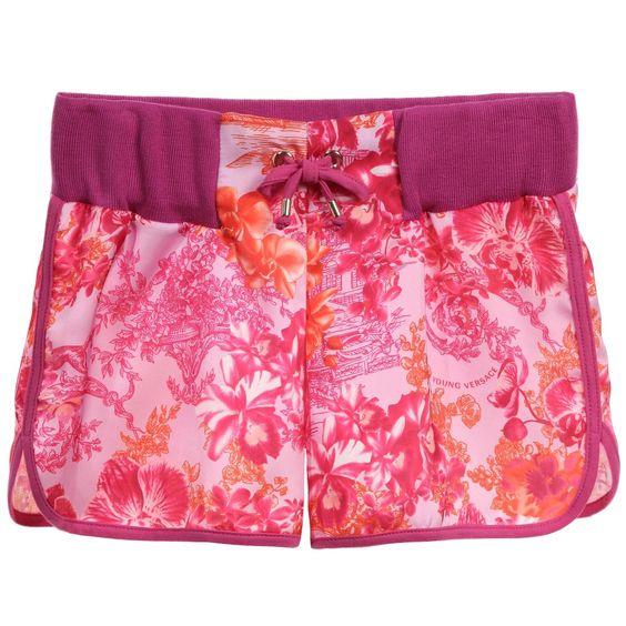 Young Versace Girls Pink Floral Satin Shorts at Childrensalon.com