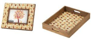Cute Owls Set - Picture Frame and Serving Tray - Owl Decor