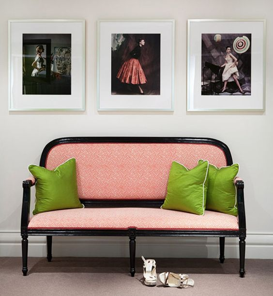 love this couch! especially the pink and green combination! #decor #pillow #couch #pink #green