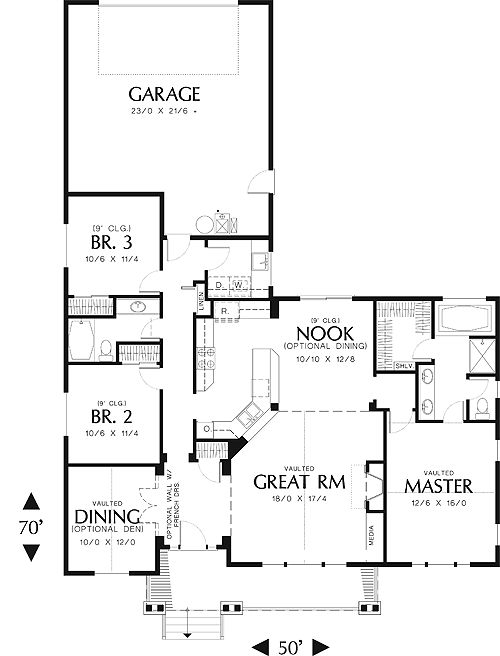 House Plan Thd 2426 5 Sets In 2021 Garage House Plans Ranch Style House Plans Country Style House Plans Open concept house plans with garage in back